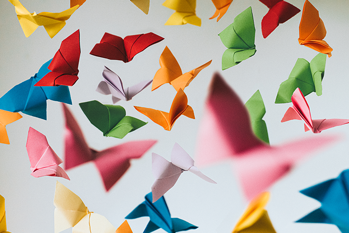 Numerous paper butterflies of various bright colours fluttering in the air.